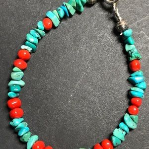 Running Bear coral and turquoise bracelet